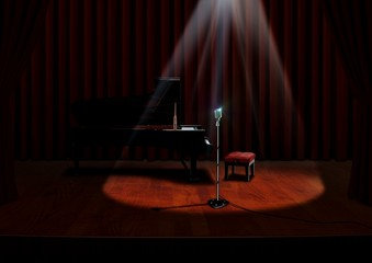Piano and Microphone under spotlight with Red Curtains