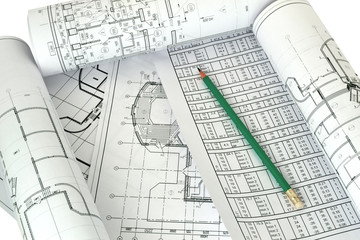 Image pencil and of several drawings of the project