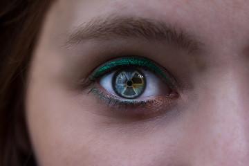 atom symbol eye reflection woman