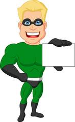 Superhero cartoon holding name card
