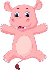 Happy baby hippo cartoon