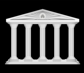 Antique roman temple stylized vector background