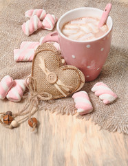 Hot cocoa drink with marshmallows