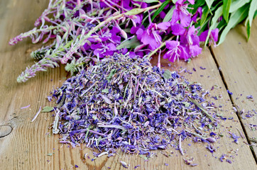 Herbal tea from fireweed dry and fresh