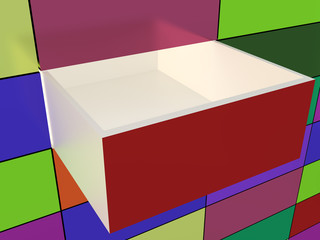 Abstract wall and opened box