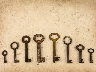 Set of different size antique keys