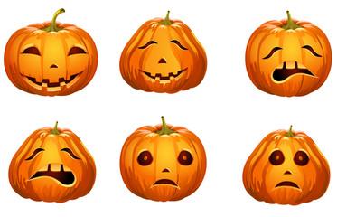 Halloween pumpkin emotions