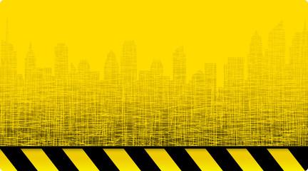 city skyline on construction background