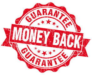 Money back red grunge vintage stamp