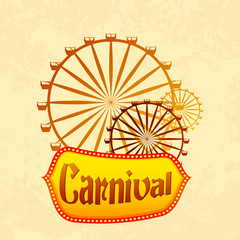 vector illustration of giant wheel in retro carnival poster