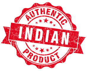 Indian product red grunge stamp on white background