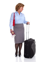 Female business traveller checking her watch