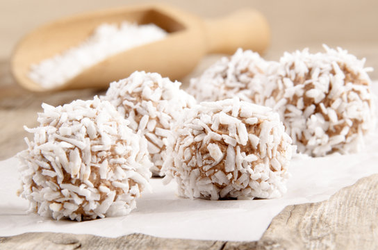 home made chocolate coconut truffle