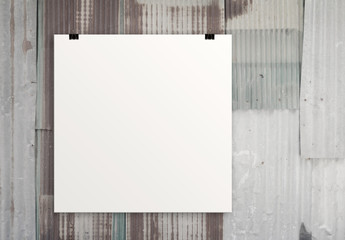 blank paper card 3d on composition wall
