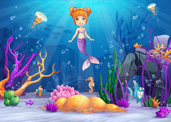 Illustration of the underwater world with and a mermaid.