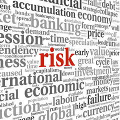 Risk in economy and finance concept in word tag cloud on white b