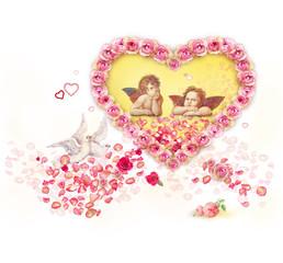 Valentinsgruß: Engel und Rosen