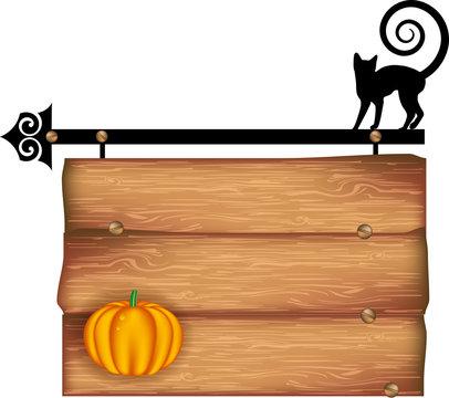 halloween, black cat on wooden table