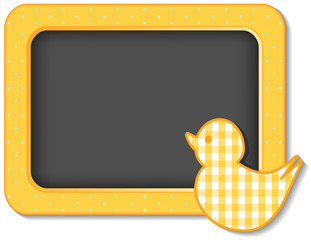 Baby Duck Nursery Bulletin Board, yellow polka dots, copy space