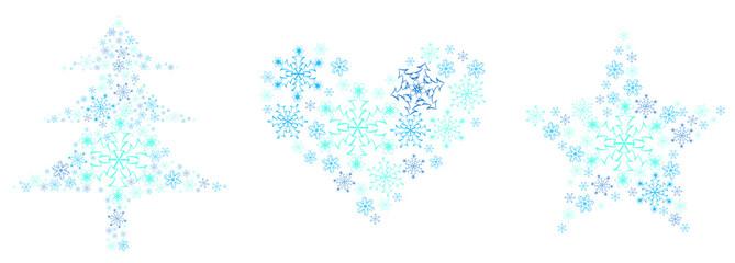 snowflake tree heart star