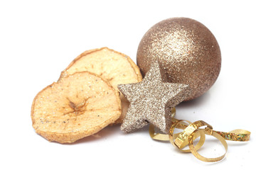 Christmas ball baubles with golden decoration
