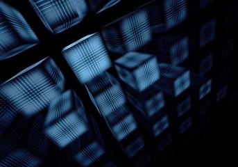 Perspective fractal blue square on a black background