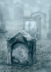 Old misty graveyard