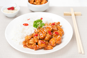 chicken in tomato sauce with sesame seeds and rice