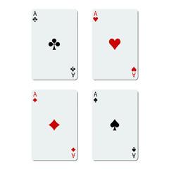 Quatre as sur fond blanc