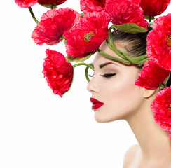 Wall Mural - Beauty Fashion Model Woman with Red Poppy Flowers in her Hair