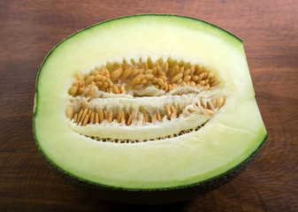 Half cutted of Fresh green melon fruit