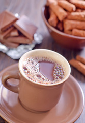 cocoa drink and dry breakfast