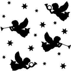 Christmas seamless background with  angels, vector