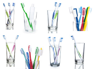 collection colorful toothbrushes in a glass