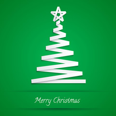 christmas tree made from white paper stripe