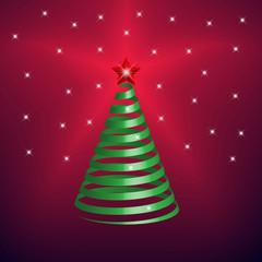 Christmas Tree made from green ribbon
