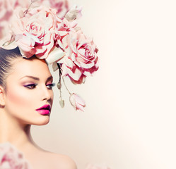Wall Mural - Fashion Beauty Model Girl with Flowers Hair. Bride