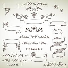 Vector Illustration of Decorative Vintage Elements