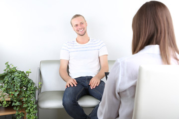 Talking to psychologist during counseling