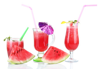 Three glasses of fresh watermelon juice, isolated on white
