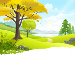 Wall Mural - Scenic countryside  lake view