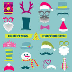 Christmas Retro Party set - Glasses, hats, lips, mustaches, mask