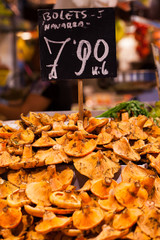 Mushrooms at a stand in the Boqueria Market,Barcelona,Spain