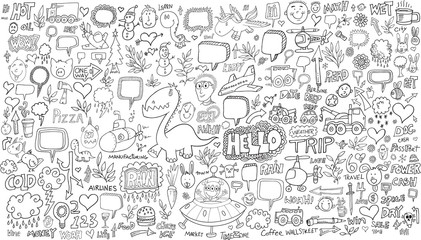 Photo sur cadre textile Cartoon draw Doodle Sketch Vector Illustration Set
