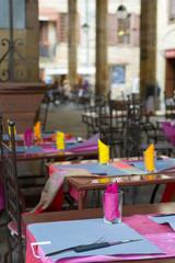 Colorful empty terrace