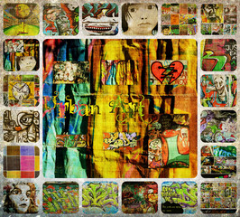 Printed kitchen splashbacks Graffiti collage graffiti
