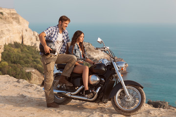 Wall Mural - Biker man and girl