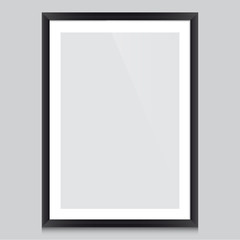 Poster template with black frame vector design