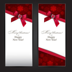 Greeting cards with red bow.