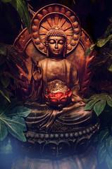 Printed kitchen splashbacks Buddha Golden buddha statue